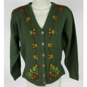 Laura Ashley 6 Cardigan Sweater LS Green Floral